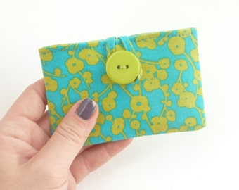 teal card case. womens card holder. aqua green floral fabric pouch. cute business card minimalist wallet cloth cotton teacher teen girl gift