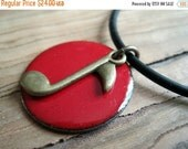 SALE Music Note Necklace, Red Enamel on Copper Necklace, Handmade Pendant, Music Lover