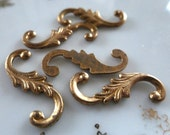 Vintage Leaf Embellishments, 1950s Art Nouveau, Raw Unplated Solid Die Cast Aged Brass Tone, Jewelry Findings, 7.5x20mm, 3 pieces (C38)