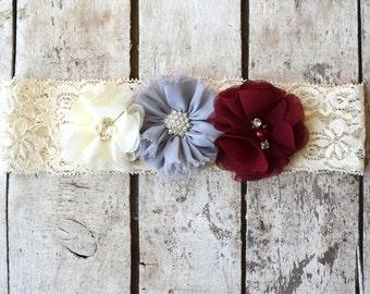 Gray Wine Ivory Lace Headband, Toddler Lace headband, Girls headband, Flower girl headband, Wedding headpiece, burgundy rhinestone