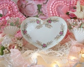 vintage irice pink roses hand painted china heart shape perfume vanity tray, romantic cottage vanity, dressing table, irving rice co.