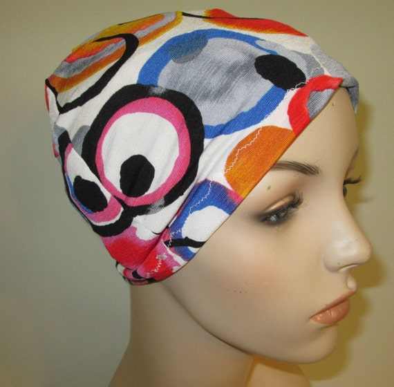 Chemo Hat Lycra  Colorful Circles Play Sleep Cap, Cancer Hat, Alopecia Kids and Adult Chemo Hat