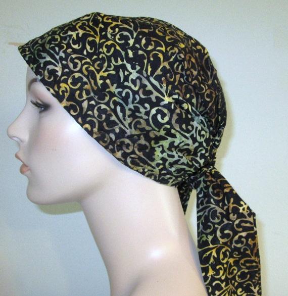Black Batik Swirls Chemo Scarf, Hat, Cancer Hat, Hijab, Alopecia FREE SHIP USA
