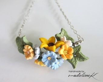 Summer Blossom Flower Necklace, Handmade Polymer Clay Flower Necklace, Flower Jewelry, Flower Bridesmaid Jewelry, Summer Wedding Necklace