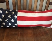"Americana 4th of July Stars and Stripes long pieced pillow 9"" X 22"" red white and blue patriotic"