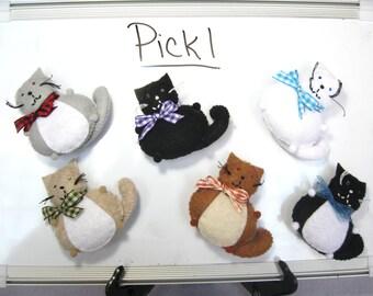 Cute cat magnet, Pick 1, Basic cat colors, Felt magnet, Home decor, Fridge magnet, Office supplies, Cat lover gift, Stocking stuffer
