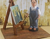 Grant Wood American Gothic Painter Artist Miniature Diorama Scene Artist With Easel