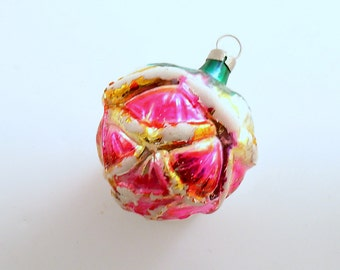 Vintage Christmas Glass Ornament Pink Rose Czechoslovakia