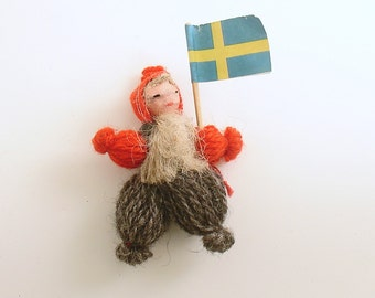 Vintage Doll Christmas Ornament Sweden Swedish Flag Scandinavian Ornament