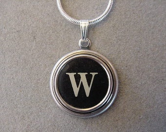 Typewriter key Jewelry Necklace - BLACK  LETTER  W - Typewriter Key Necklace - Initiall W serif font Initial Necklace W