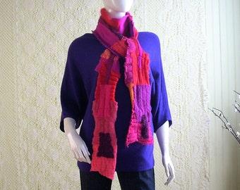 Extra Long Upcycled Scarf/Bohemian Scarf/Boro Neck Wrap/Artisan Scarf by Brenda Abdullah