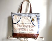 Leather & work apron carryall tote bag -  antique ticking - eco vintage fabrics