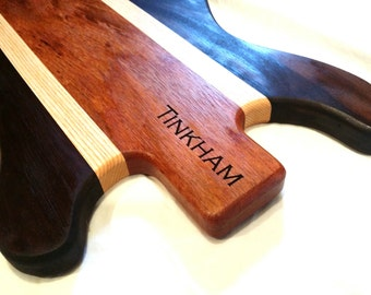 Personalized Laser Engraved Guitar Cutting Chopping Butcher Board Block - Black Walnut, Ash, and Mahogany Laser Engraved Custom Gift