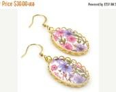 ON SALE Cameo Earrings, Floral Earrings,Vintage Purple Floral Cameo Earrings