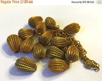 ON SALE Vintage Brass Beads and Brass chain, Bead Destash