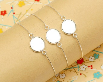 10 pcs silver finish base tray bangle - fit for 12mm cab. B40