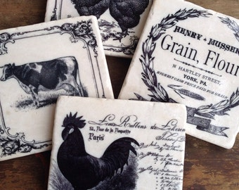 Farm Country -  farmhouse - drink coasters - country decor - kitchen decor