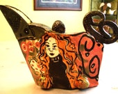 teapot ceramic handmade teapot  figurative woman OOAK teapot green brown black contemporary teapot sculpture