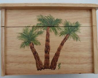 Palm Tree Recipe Box Painted Palm Trees Recipe Box Hand Painted Recipe Boxes Palm Tree Decor