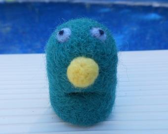 Little Blue-Green Wool Needle Felted Friendly Monster