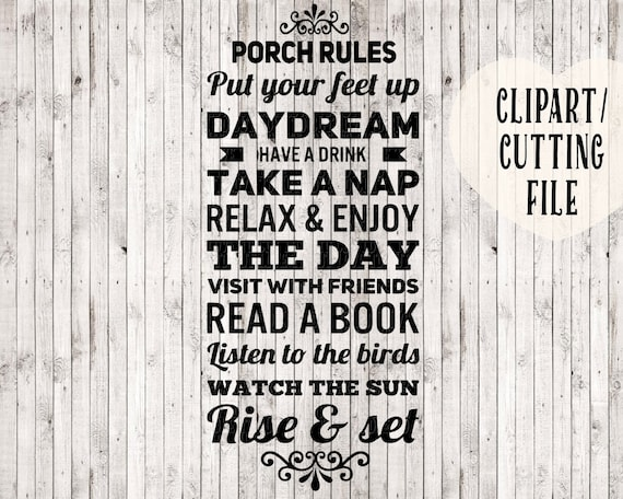 Porch rules svg porch rules sign clipart porch sign svg for Country porch coupon code