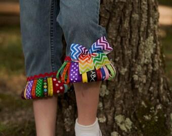 """Girls """"SCHOOL SUPPLIES"""" Custom BaCK To SChOOL  ribbon fringe skirt or capri or jeans in sizes 6-12-18-24 mth 2-3-4-5-6-7-8"""