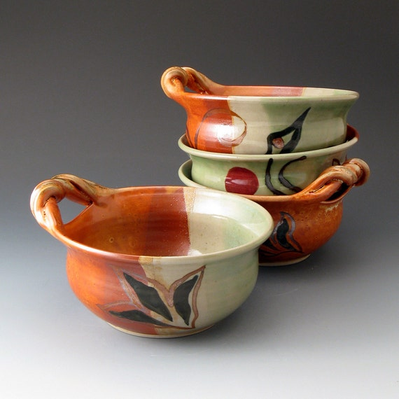 Items Similar To Ceramic Soup Bowl With Handle Pea And