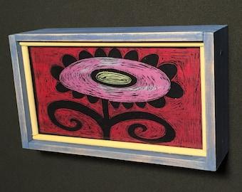 pink sun flower print of original painting with handmade wood frame