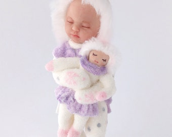 Snow Baby Ornament with doll.  Baby's first Christmas baby doll ornament pink white glitter snow babies sleeping baby