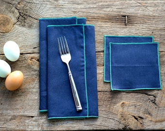 Navy Blue Linen with Teal Edge, Cloth Napkins and Coasters, 100% linen