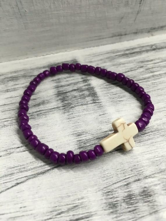 SALE!! Cross with Purple Beads Stretchy Bracelet