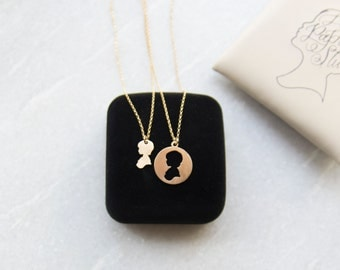 Mother Daughter Necklace Mother's Day Necklace Set Custom Silhouette Charm Mother and Child Jewelry Set Laser Cut Jewelry Silver or Gold