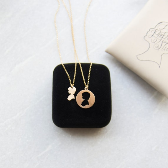Silhouette Earrings: Mother Daughter Necklace Mother's Day Necklace Set Custom