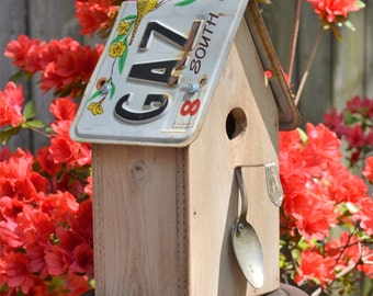 Rustic Birdhouse - Primitive Birdhouse - License Plate Birdhouse - Recycled Birdhouse - Spoon Birdhouse