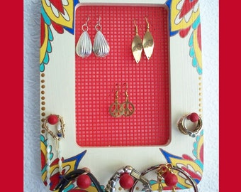 Hand Painted Wall Jewelry Holder, Jewelry Organizer, Jewelry Display, Jewelry Storage, Unique Gift, Frame, Jewelry Holder,Wall Jewelry Rack