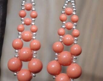 Coral Pearl Swarovski Elements Chandelier Bridal Wedding Earrings