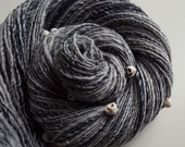 Handspun Art Yarn - POWER OF GRAYSKULL - Handspun. Grey, Gray, with Skull Beads. He-Man, Eternia, Masters of the Universe. 265 yds, 4.6 oz