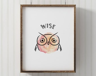Owl nursery wall art, Woodland animal decor, owl decor for baby, forest themed kids room, owl for nature themed nursery, wise owl wall art