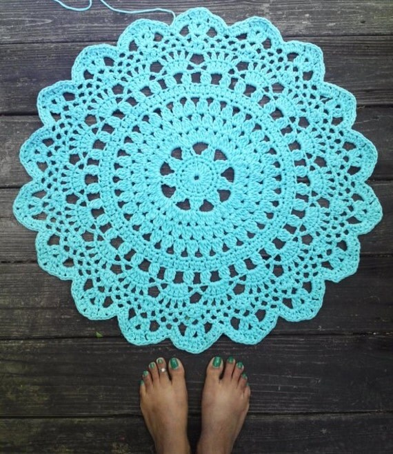 Items Similar To Aqua T Shirt Yarn Crochet Doily Rug 27