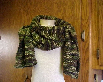 HANDKNIT Scarf~~Wide and Long~~Soft,  100 percent Acrylic Knit~~Men/Women~~FREE SHIPPING