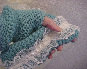On Sale Now~~HANDKNIT WRIST/ARMWARMERS~~with Beautiful and Feminine White Lace Trim