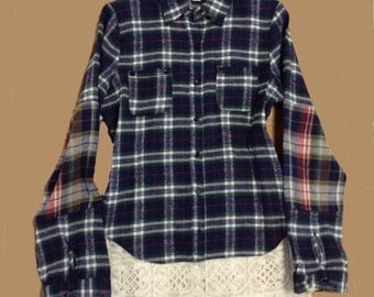 Plaid flannel shirt with petticoat lace Under slip M