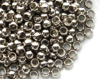 Antique Silver Crimp Beads 2.5mm Hole Size 1.5mm - 350 Pieces - Silver Round (SFD0033)