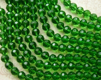 "Green Faceted Glass Round Beads 10mm - 32 Beads Per 12"" Strand, Fire Polished Medium Green (CBD0167)"