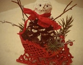 SWEET Hand Made Pine Cone Snowman in sled CHRISTMAS ORNAMENT ooak