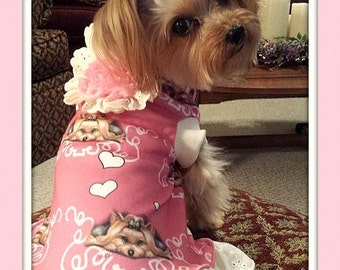 To Order Pet Dress Embellished with Lace in  Spoonflower Fabric