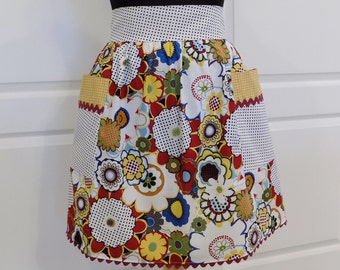 Womens Half Apron Cute Chic Kitchen Waist Aprons with Pockets