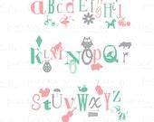 Kids Alphabet Wall Decal - Girl Ballerina Princess Flower Ladybug Owl Horse - Vinyl Wall Art Room Decor Sticker - CL102