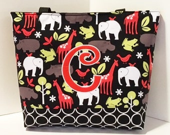 Boy Diaper bag . Zoology Red and Black . Regular Size . Monogrammed FREE . animal diaper bag . personalized diaper bag . boy diaper bag