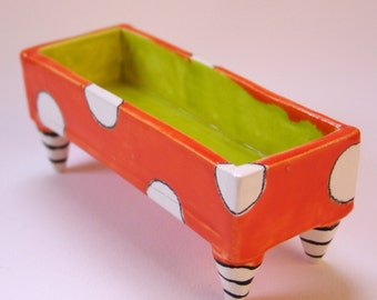Whimsical pottery Butter Dish :) Alice in Wonderland Tangerine Orange, Chartreuse square dish w/polka-dots, black & white striped legs